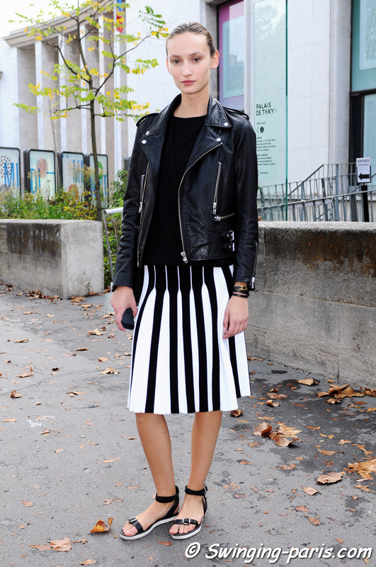 Alex Yuryeva outside Léonard show, Paris S/S 2015 RtW Fashion Week, September 2014