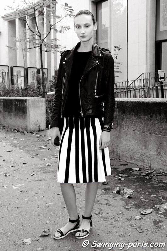 Alex Yuryeva outside Léonard show, Paris S/S 2015 RtW Fashion Week, September 2014