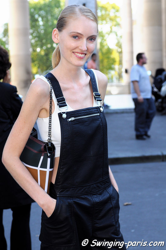 Hannare Blaauboer outside Rahul Mishra show, Paris S/S 2015 RtW Fashion Week, October 2014