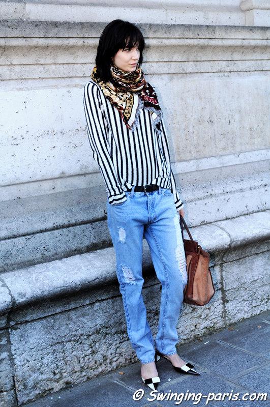 Janice Alida leaving Chalayan show, Paris S/S 2015 RtW Fashion Week, September 2014