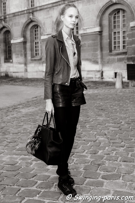 Kristy Kaurova outside Julien David show, Paris S/S 2015 RtW Fashion Week, September 2014