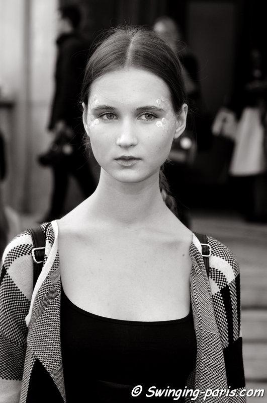 Milena Lobko leaving Manish Arora show, Paris S/S 2015 RtW Fashion Week, September 2014