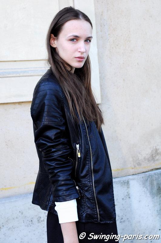 Stasha Yatchuk leaving Chalayan show, Paris S/S 2015 RtW Fashion Week, September 2014