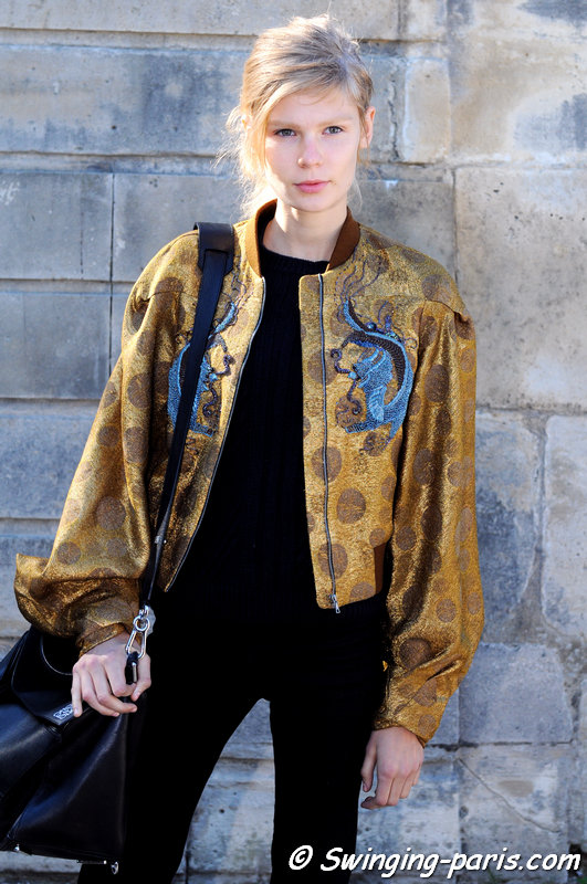 Alexandra Elizabeth Ljadov outside Maison Margiela show, Paris S/S 2016 RtW Fashion Week, September 2015