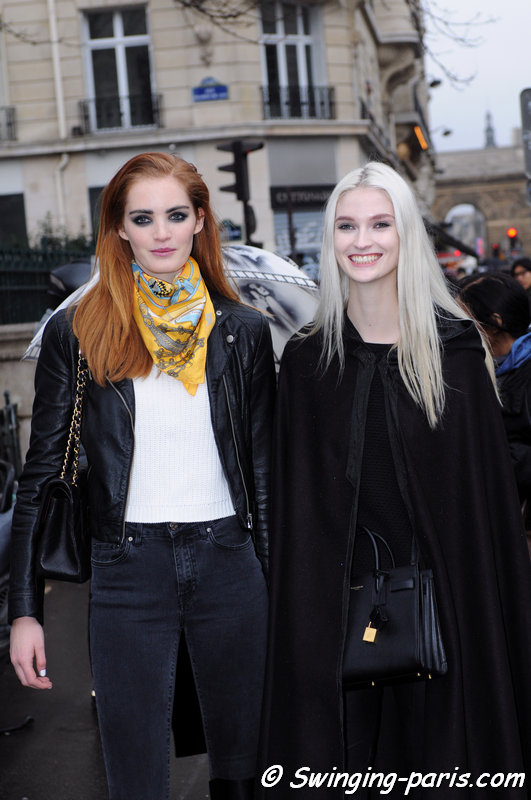 Alexina Graham (left) and Helena Greyhorse leaving Jean Paul Gaultier show, Paris Haute Couture S/S 2015 Fashion Week, January 2015