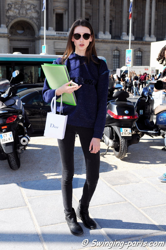 Allyson Chalmers leaving Christian Dior show, Paris S/S 2016 RtW Fashion Week, October 2015