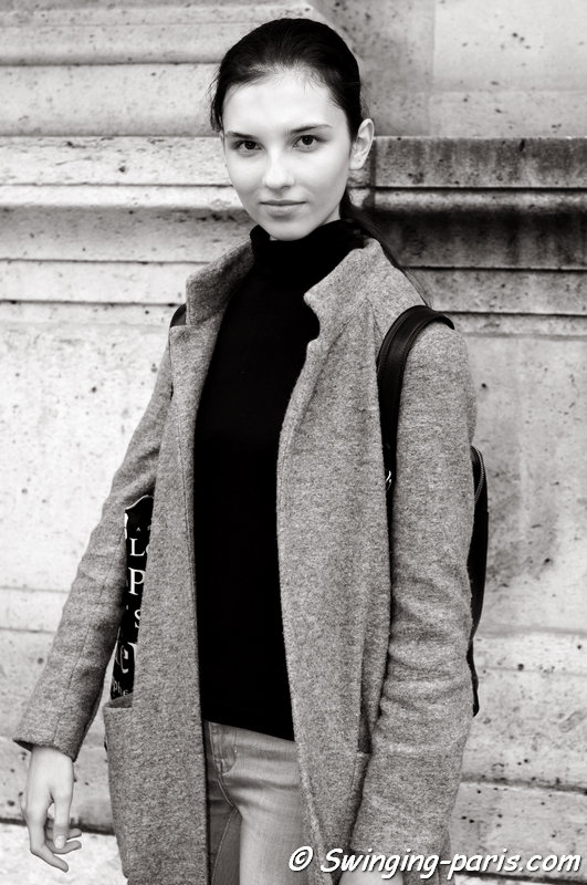 Anastasia Chekry leaving Allude show, Paris S/S 2016 RtW Fashion Week, October 2015