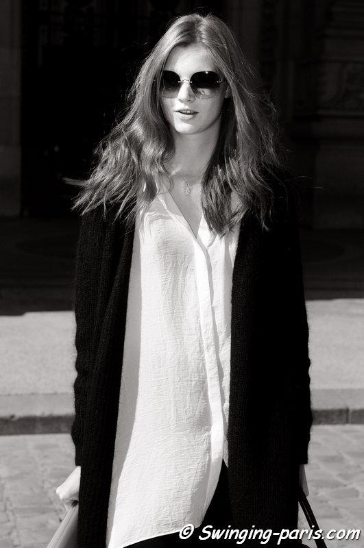 Anastasia Ivanova (Анастасия Иванова) leaving Guy Laroche show, Paris S/S 2016 RtW Fashion Week, September 2015