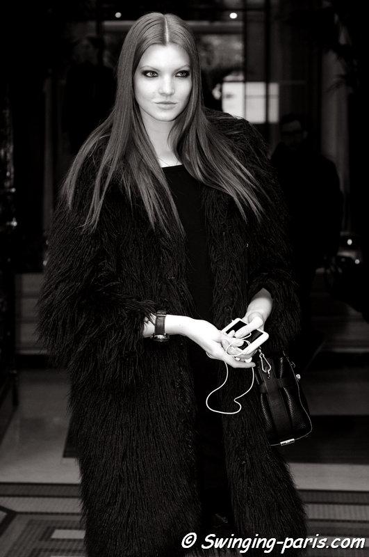 Anastasia Ivanova (Анастасия Иванова) leaving Valentin Yudashkin show, Paris F/W 2015 RtW Fashion Week, March 2015