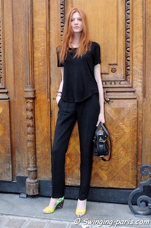Anastasia Ivanova (Анастасия Иванова) leaving Jean Paul Gaultier show, Paris Haute Couture F/W 2015 Fashion Week, July 2015