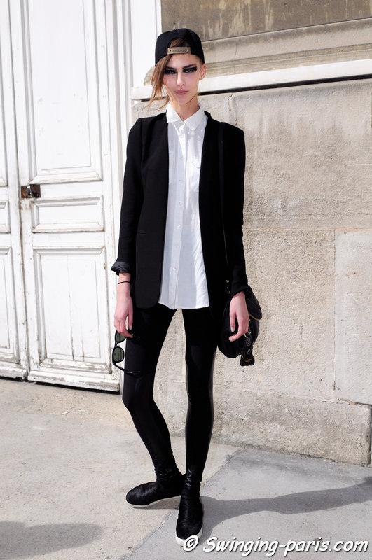 Anastasia Lagune leaving Ann Demeulemeester show, Paris S/S 2015 RtW Fashion Week, September 2014
