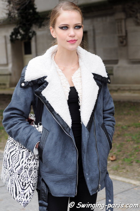 Anette Eelmae leaving Chanel show, Paris F/W 2015 RtW Fashion Week, March 2015