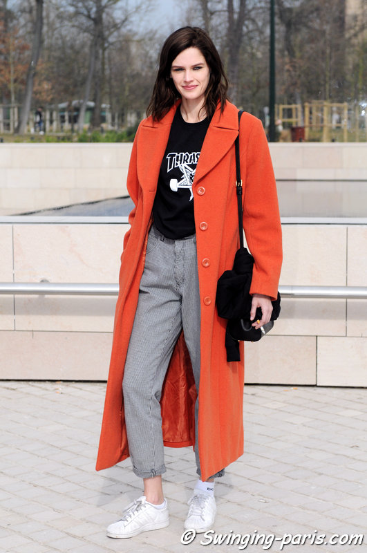 Angel Rutledge outside Louis Vuitton show, Paris F/W 2015 RtW Fashion Week, March 2015