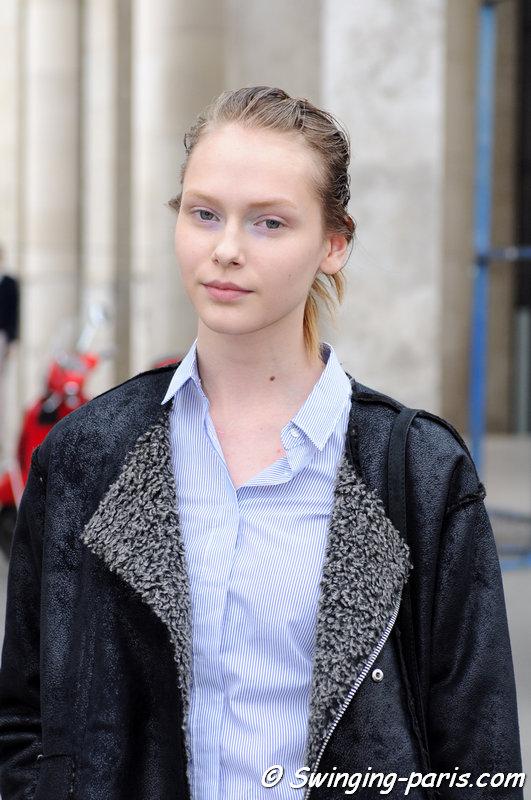 Arina Levchenko outside Léonard show, Paris F/W 2015 RtW Fashion Week, March 2015