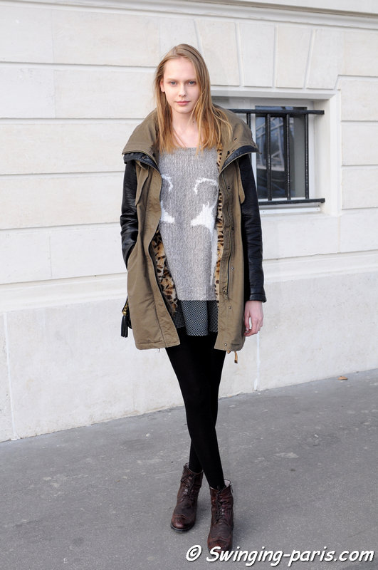 Arina Levchenko outside Moon Young Hee show, Paris F/W 2015 RtW Fashion Week, March 2015
