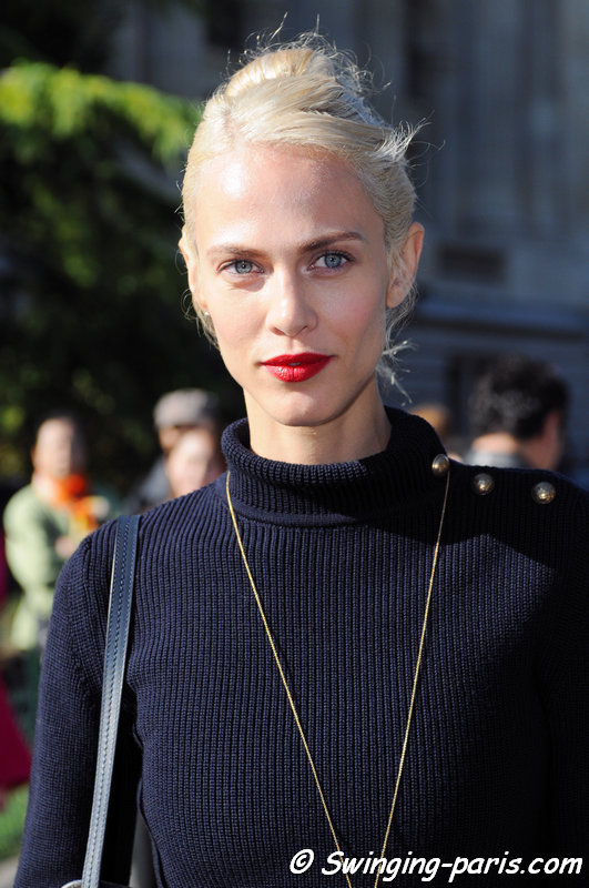 Aymeline Valade leaving Chloé show, Paris S/S 2016 RtW Fashion Week, October 2015