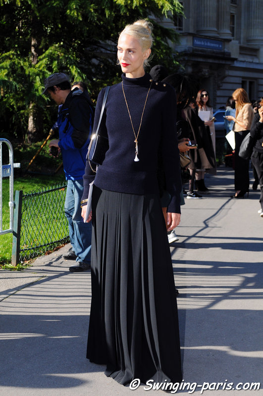 Aymeline Valade leaving Chloé show, Paris S/S 2016 RtW Fashion Week, October 2015