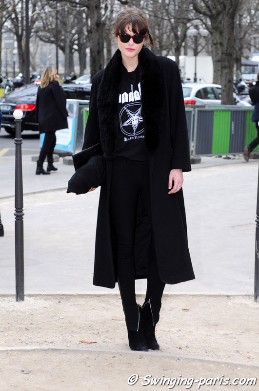 Catherine McNeil outside Chanel show, Paris F/W 2015 RtW Fashion Week, March 2015