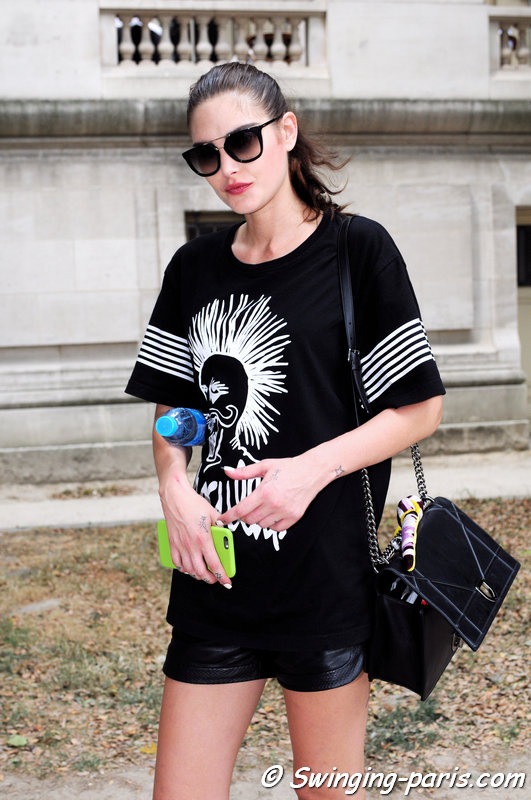 Catherine McNeil outside Chanel show, Paris Haute Couture F/W 2015 Fashion Week, July 2015
