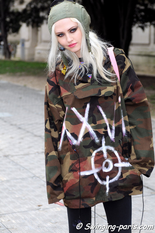 Charlotte Free outside Chanel show, Paris F/W 2015 RtW Fashion Week, March 2015