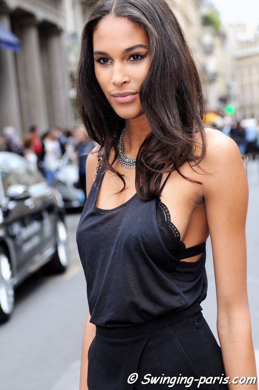Cindy Bruna leaving Elie Saab show, Paris Haute Couture F/W 2015 Fashion Week, July 2015