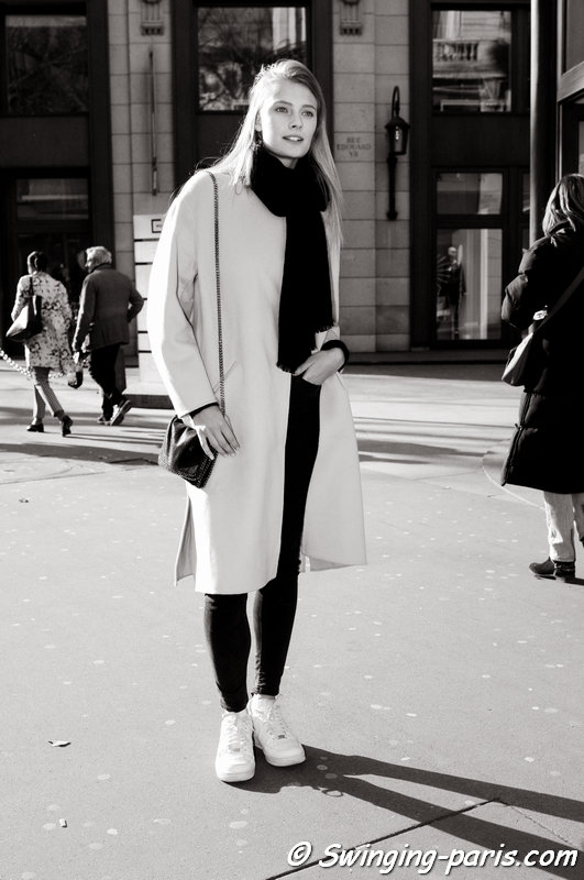 Constance Jablonski outside Balmain show, Paris F/W 2015 RtW Fashion Week, March 2015
