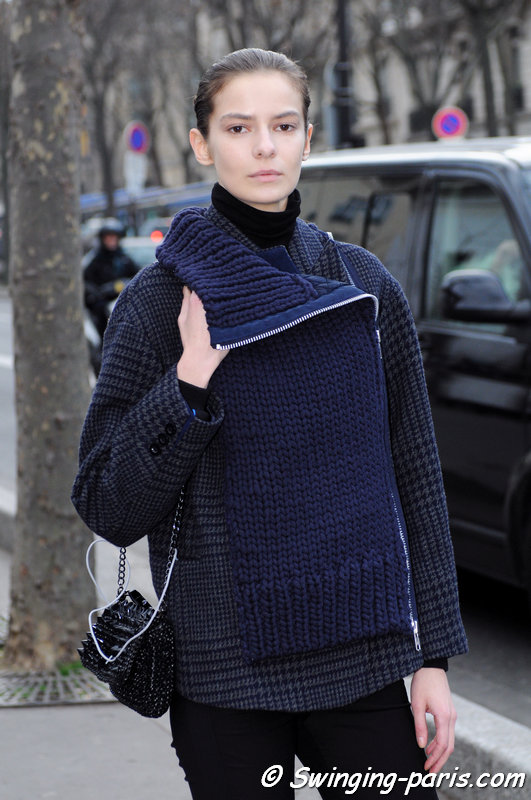 Dasha Denisenko outside Iris van Herpen show, Paris F/W 2015 RtW Fashion Week, March 2015
