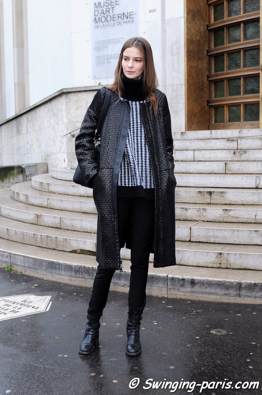 Dasha Denisenko outside Dice Kayek show, Paris Haute Couture S/S 2015 Fashion Week, January 2015
