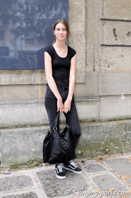 Eliza Hartmann leaving Yiqing Yin show, Paris Haute Couture F/W 2015 Fashion Week, July 2015