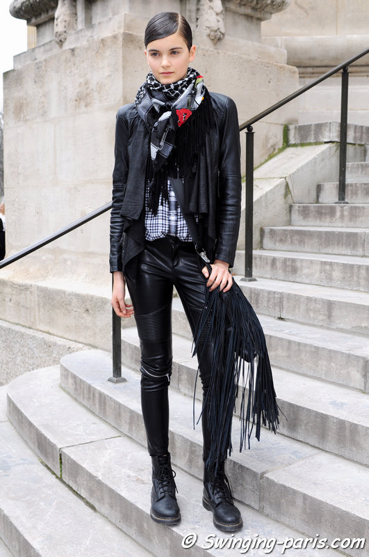 Emma Génier leaving Chanel show, Paris F/W 2015 RtW Fashion Week, March 2015