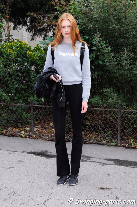 Emmy Krüger leaving Moncler Gamme Rouge show, Paris S/S 2016 RtW Fashion Week, October 2015