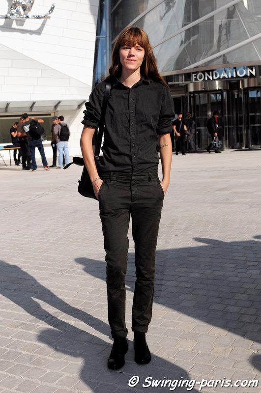 Freja Beha Erichsen exiting Louis Vuitton show, Paris S/S 2015 RtW Fashion Week, October 2014