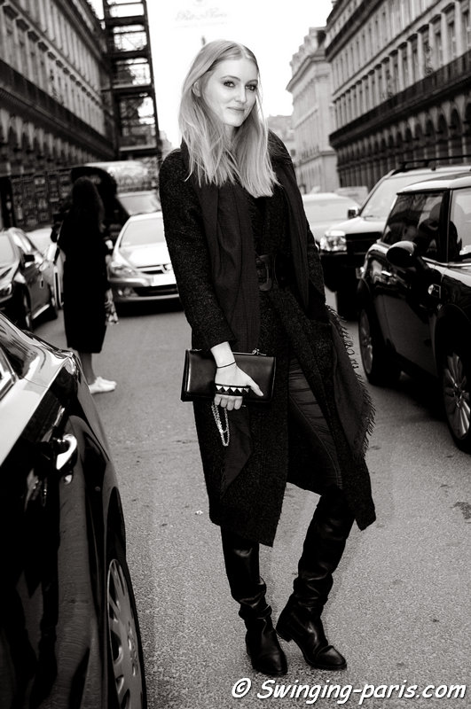 Hannare Blaauboer outside Valentin Yudashkin show, Paris F/W 2015 RtW Fashion Week, March 2015