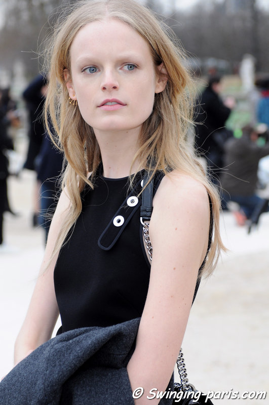 Hanne Gaby Odiele leaving Valentino show, Paris F/W 2015 RtW Fashion Week, March 2015