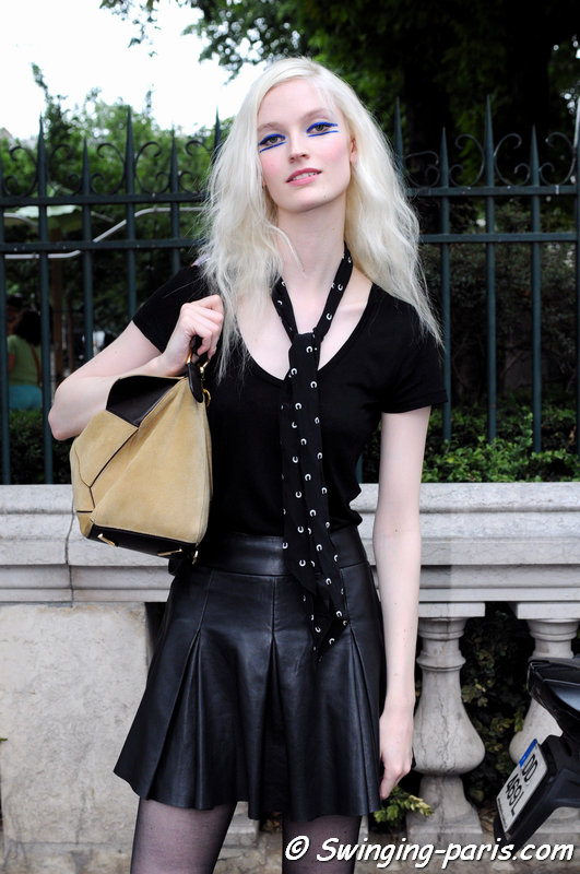 Helena Greyhorse leaving Jean Paul Gaultier show, Paris Haute Couture F/W 2015 Fashion Week, July 2015
