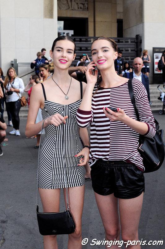 Irina Liss (Ирина Лисс) and Irina Shnitman (left) outside Armani Privé show, Paris Haute Couture F/W 2015 Fashion Week, July 2015