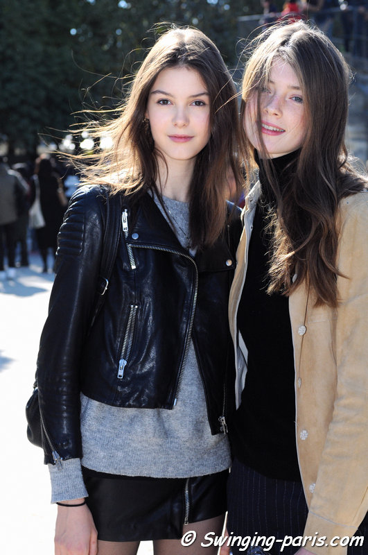 Irina Shnitman (left) and Jessica Burley outside Carven show, Paris S/S 2016 RtW Fashion Week, October 2015