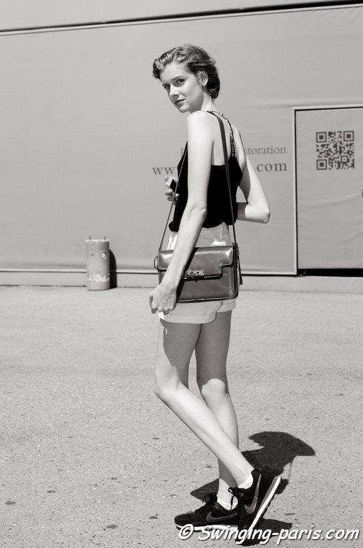 Issa Kerremans leaving Schiaparelli show, Paris Haute Couture F/W 2015 Fashion Week, July 2015