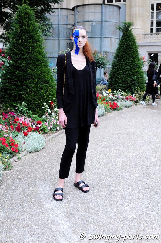 Jada Joyce leaving Maison Margiela show, Paris Haute Couture F/W 2015 Fashion Week, July 2015