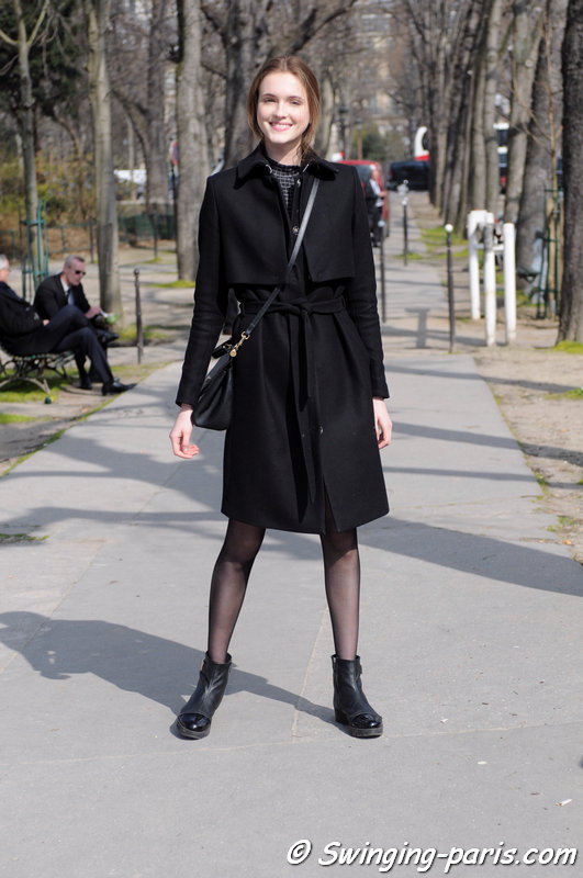 Jane Grybennikova (Евгения Грибенникова) leaving Moncler Gamme Rouge show, Paris F/W 2015 RtW Fashion Week, March 2015