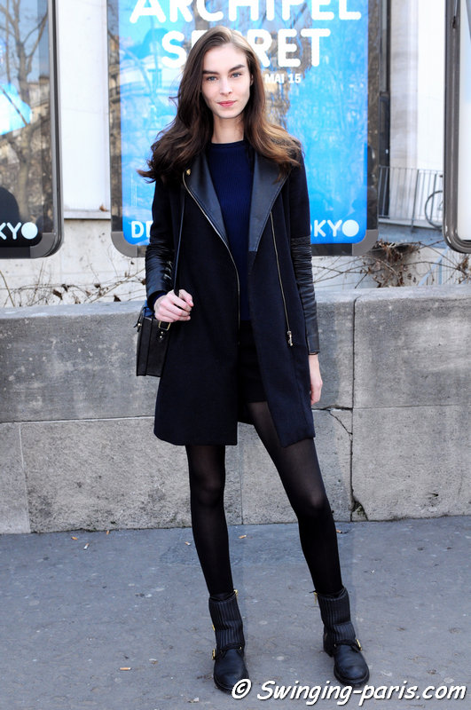 Jessica Le Bleis outside Rahul Mishra show, Paris F/W 2015 RtW Fashion Week, March 2015
