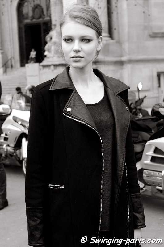 Katya Ledneva (Катя Леднева) leaving Chanel show, Paris F/W 2015 RtW Fashion Week, March 2015