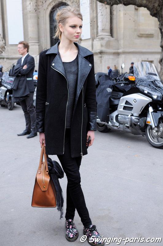 Katya Ledneva (Катя Леднева) leaving Chanel show, Paris F/W 2015 RtW Fashion Week, March 2015