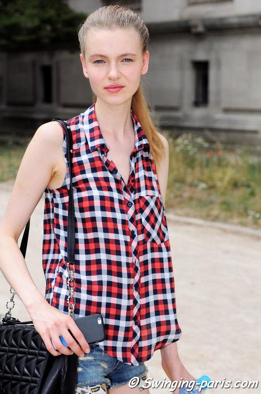 Katya Ledneva (Катя Леднева) leaving Chanel show, Paris Haute Couture F/W 2015 Fashion Week, July 2015