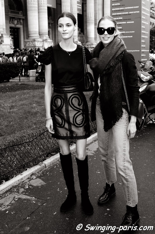 Kremi Otashliyska (left) and Sasha Luss (Саша Лусс) leaving Chanel show, Paris S/S 2016 RtW Fashion Week, October 2015
