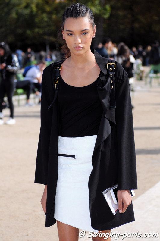 Lameka Fox leaving Valentino show, Paris S/S 2016 RtW Fashion Week, October 2015