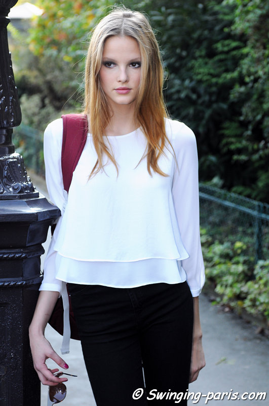 Lilly Marie Liegau outside Chanel show, Paris S/S 2015 RtW Fashion Week, September 2014