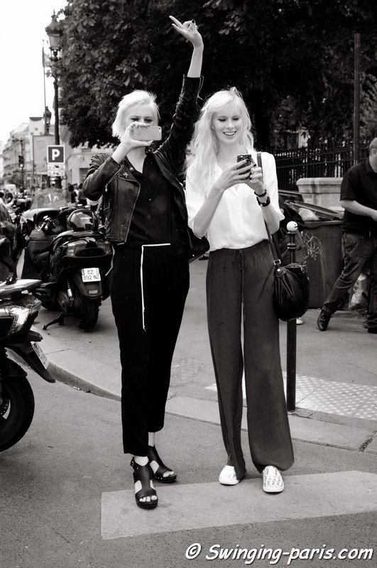 Linnea Hellbom and Sally Jonsson (long hair) leaving Jean Paul Gaultier show, Paris Haute Couture F/W 2015 Fashion Week, July 2015