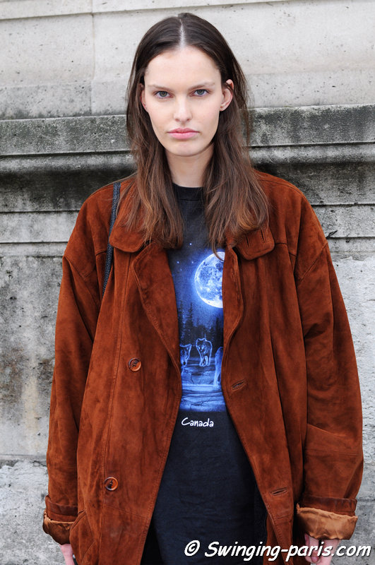 Lisa Verberght leaving Allude show, Paris S/S 2016 RtW Fashion Week, October 2015