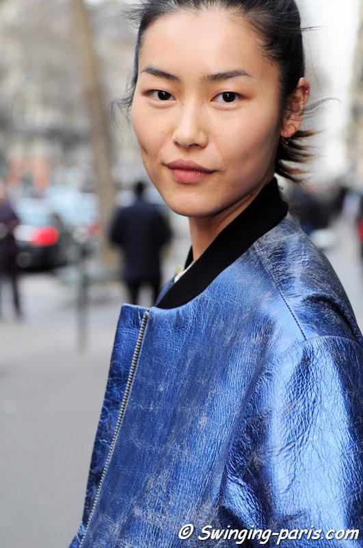 Liu Wen leaving Hermès show, Paris F/W 2015 RtW Fashion Week, March 2015
